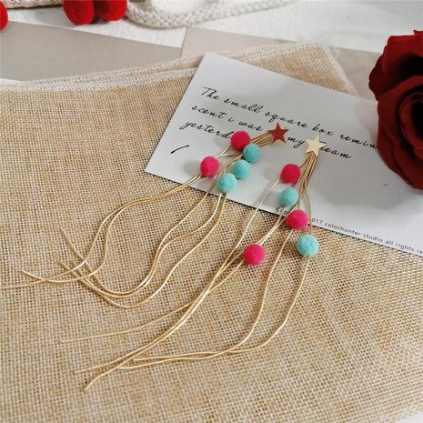Cute colorful hair ball stars falling super long tassel face slim earrings NHYQ130345's discount tags