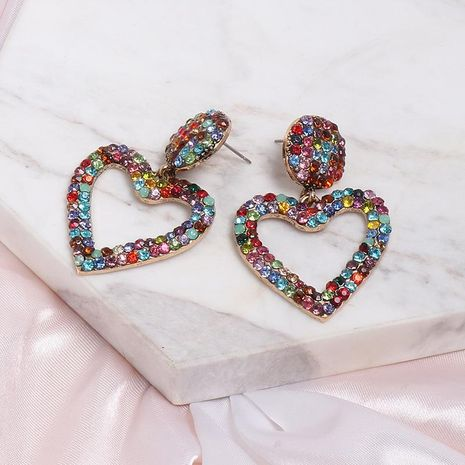 Womens Heart-Shaped Rhinestone Alloy Earrings NHJJ130350's discount tags