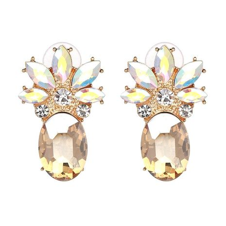 Fruit pineapple and rhinestone earrings NHJJ130363's discount tags