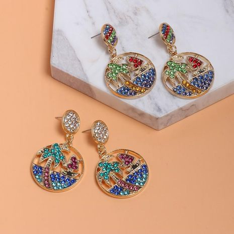 Creative simple round coconut tree earrings with colored rhinestone stud earrings NHJJ130369's discount tags