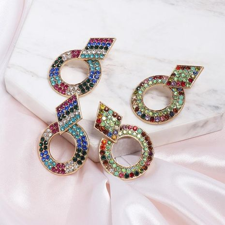 Creative simple round color rhinestone stud earrings NHJJ130372's discount tags