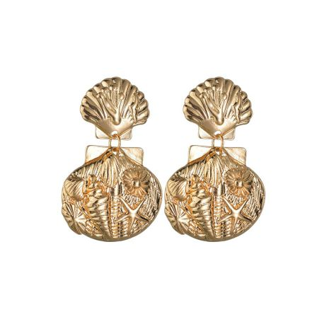 Fashion starfish shell metal texture earrings NHBQ130388's discount tags