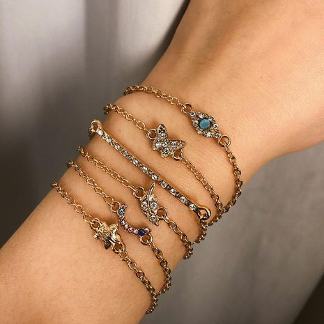 Simple zircon beads temperament leaf geometric rhinestone bracelet NHXR130398's discount tags