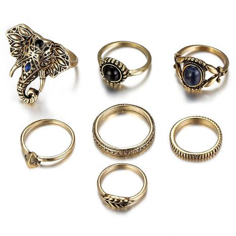 Natural stone elephant leaves exaggerated luxury seven-piece combination ring NHSD130405's discount tags