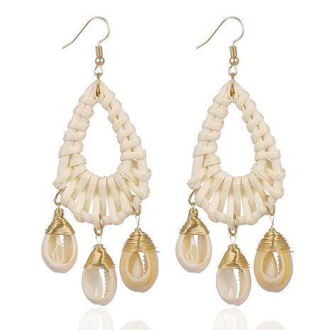Rattan handmade ear wrap line shell drop-shaped earrings NHSD130415's discount tags