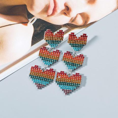 Fashion long rhinestone-studded heart-shaped versatile atmospheric earrings NHWF130417's discount tags