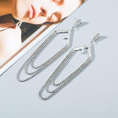 Fashion exaggerated multi-layer water droplets geometric long rhinestone earrings NHWF130420's discount tags