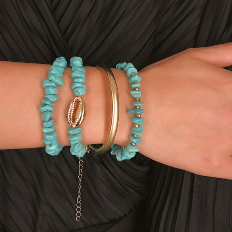 Retro Simple Geometric Turquoise Shell Bend Bracelet NHXR130422's discount tags