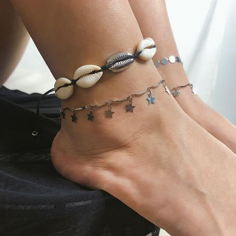 Ethnic style beach shell five-pointed star alloy anklet bracelet NHXR130426's discount tags