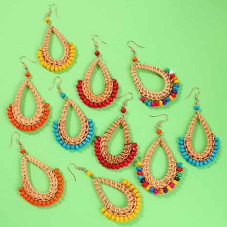Womens Geometric Rattan Rice Beads Earrings NHMD130436's discount tags