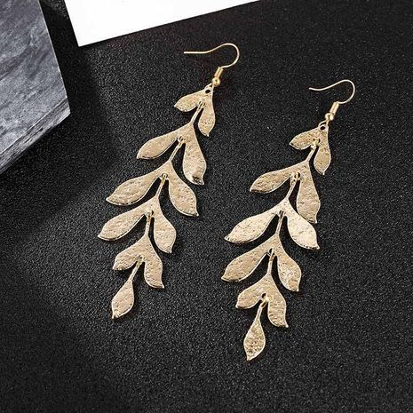 Womens Leaf Plating Alloy Earrings NHSD130442's discount tags