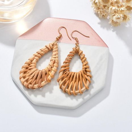 Fashion rattan woven geometric drop earrings NHBQ130444's discount tags