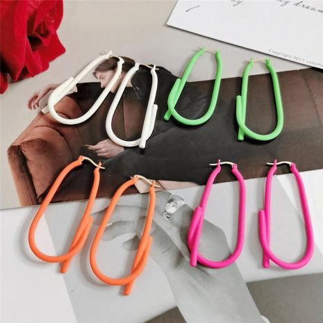 Creative paper clip alloy spray paint matte texture hollow long earrings NHYQ130450's discount tags
