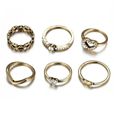 Vintage Ring Set Alloy Heart Shaped Rhinestone Ring NHSD130452's discount tags