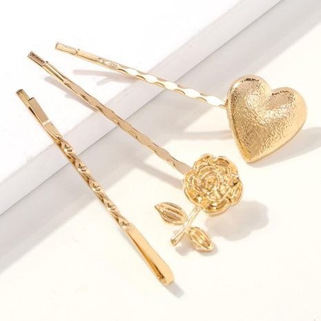 Simple and versatile personality flower heart-shaped metal texture hair accessories NHMD130460's discount tags
