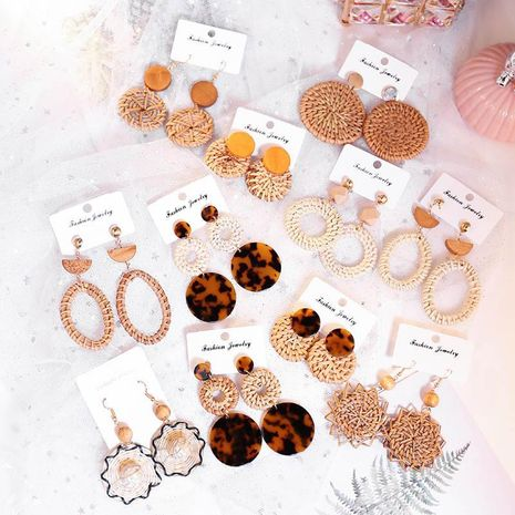 Creative hollow handmade bamboo and rattan woven earrings NHSD130471's discount tags