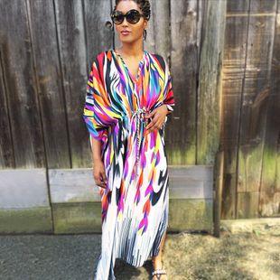 Falda de playa de gran tamaño con arco iris suelto, protector solar, falda larga, blusa bikini NHXW132662's discount tags