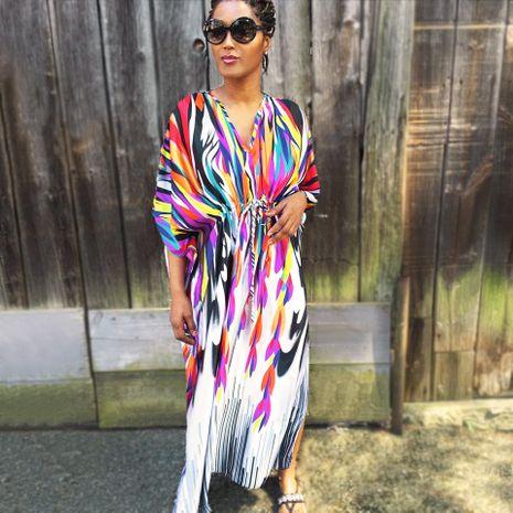 Rainbow loose large size beach skirt holiday sunscreen long skirt bikini blouse NHXW132662's discount tags