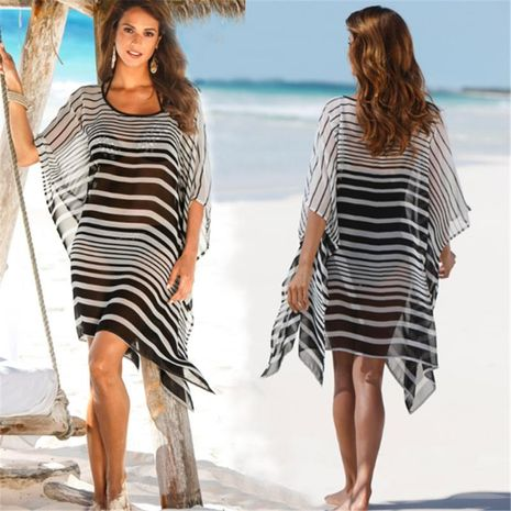 Chiffon black and white striped loose large size beach coat sun protection clothing bikini blouse NHXW132664's discount tags
