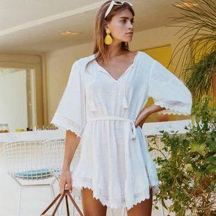 Falda de playa de algodón con cuello en V falda bikini blusa NHXW132669's discount tags