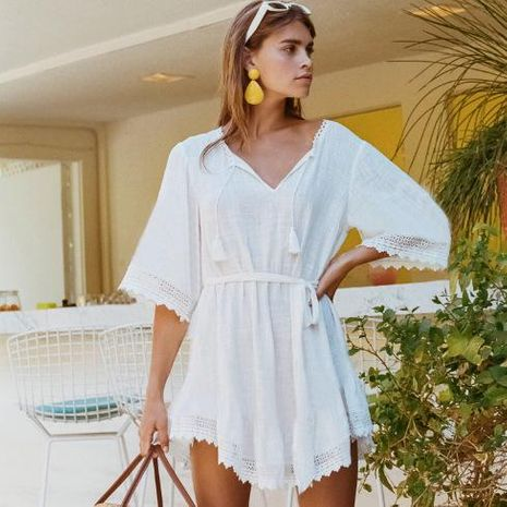 Cotton V-neck straps beach skirt bikini blouse NHXW132669's discount tags