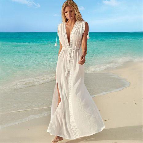 Wrinkle cloth lace beach skirt sexy deep V-neck holiday skirt bikini blouse NHXW132670's discount tags