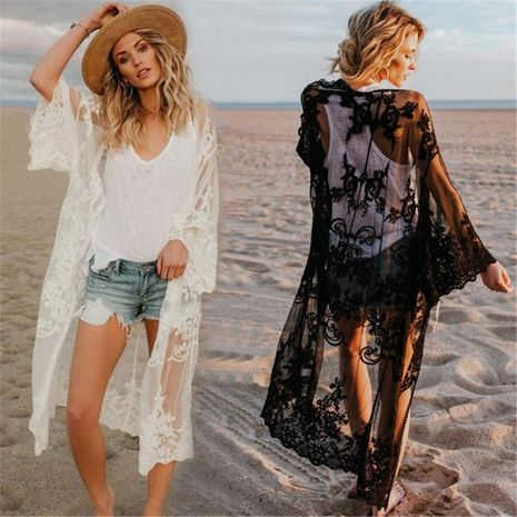 Embroidered sexy cardigan beach skirt loose large size holiday cardigan NHXW132683's discount tags