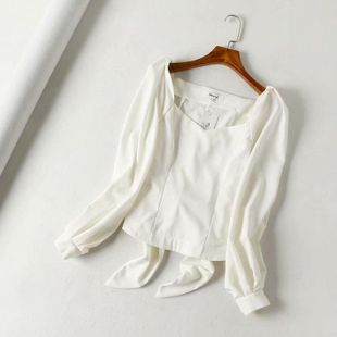 Blusa de manga de linterna de corte francesa de otoño NHAM132687's discount tags
