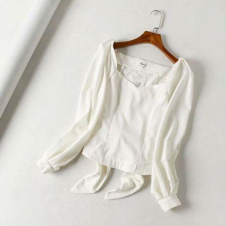 Autumn French Court Lantern Sleeve Blouse NHAM132687's discount tags