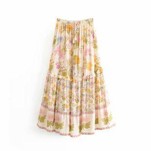 Falda con estampado de algodón de otoño NHAM132693's discount tags