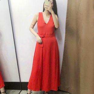 Vestido de verano nuevo chaleco rojo con cuello en v cintura NHAM132710's discount tags