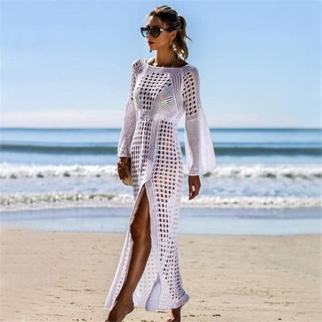Sexy openwork knit beach skirt long-sleeved split skirt holiday dress NHXW132711's discount tags