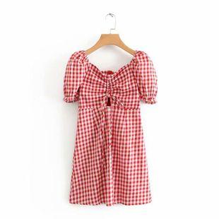 Vestido de verano a cuadros con cordón NHAM132717's discount tags