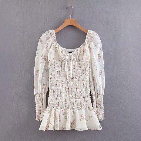 Summer Puff Sleeve Elastic Bandeau Print Dress NHAM132718's discount tags