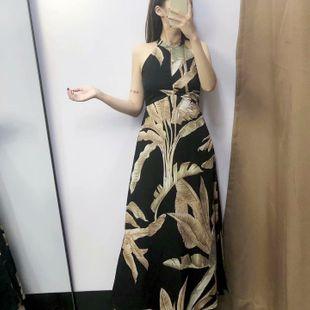Vestido a la moda con estampado de hojas de palma. NHAM132720's discount tags