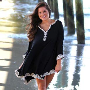 Manga de murciélago negro hombre algodón bordado playa Sanda traje de baño blusa NHXW132759's discount tags