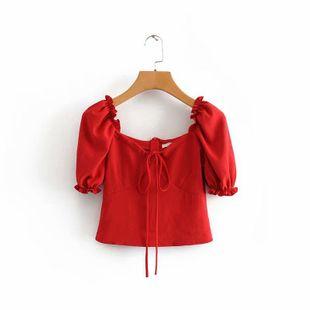 Camisa roja corta de verano NHAM132760's discount tags