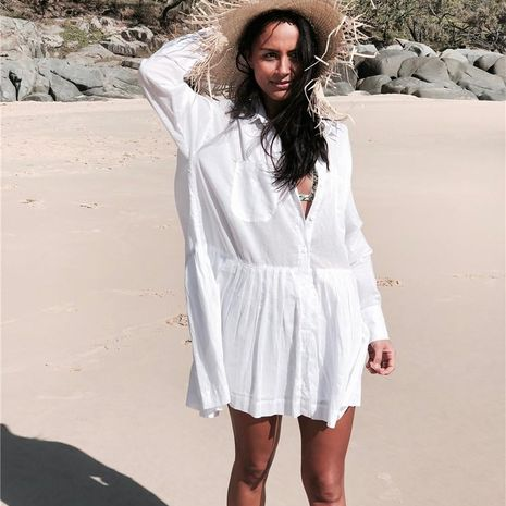 Cotton shirt beach coat bikini blouse NHXW132779's discount tags