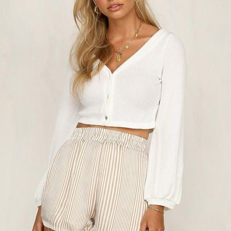 Single-breasted V-neck loose-sleeved striped sweater NHDF132791's discount tags