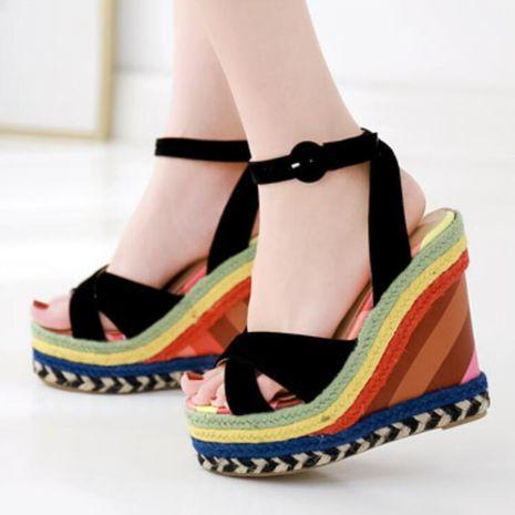Suede cross color wedge heel high heel platform sandals NHSO132855's discount tags