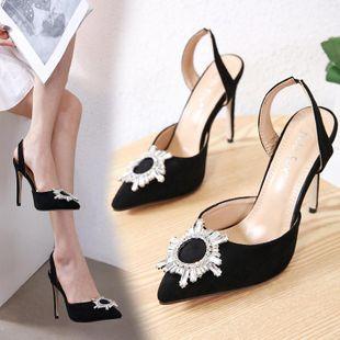 Tacón de aguja acentuado sandalias de diamantes de imitación de flor de sol superficial NHSO132863's discount tags