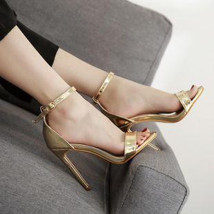 Sandalias de tacón alto en color liso con hebilla de moda sexy punta abierta NHCA132868's discount tags