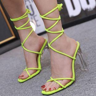 Sandalias verdes fluorescentes de tacón alto de cristal y encaje romano NHSO132878's discount tags