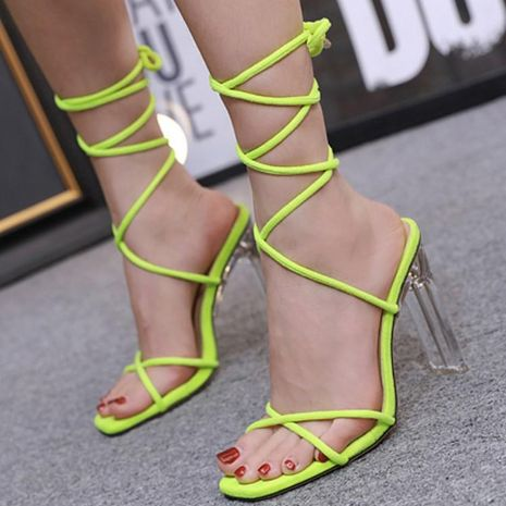 Imitated crystal and Roman lace high heel fluorescent green sandals NHSO132878's discount tags