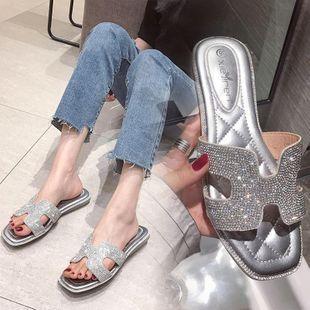 Verano nuevo gran tamaño rhinestone palabra playa zapatos planos NHSO132882's discount tags