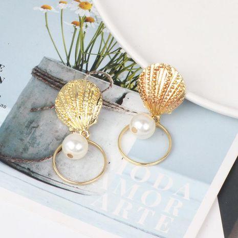 Fashion retro creative marine style shell alloy earrings NHJJ132893's discount tags