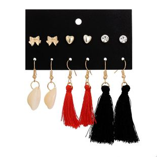 New shell fringed popular beach wind heart shaped earrings set NHSD132895's discount tags