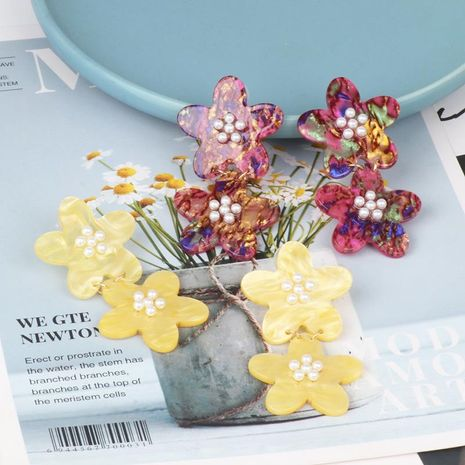 Creative exaggerated big acrylic flower earrings NHJJ132933's discount tags