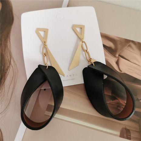 Boucles d'oreilles minces en cuir PU en laiton profond exagéré NHYQ133000's discount tags