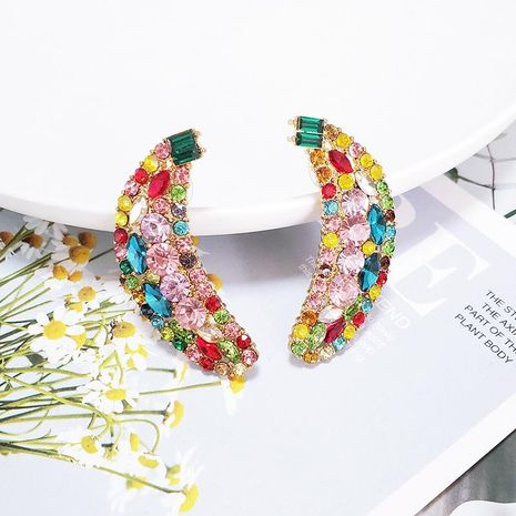 Womens Banana Rhinestone Alloy  Earrings NHJJ133014's discount tags